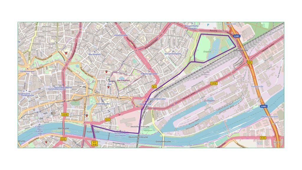 Laufstrecken in Frankfurt (Quelle: Open Streetmap)